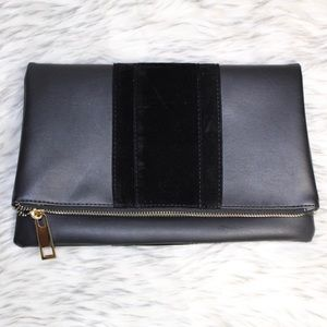 Handbags - Black and faux leather fold over clutch
